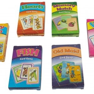 Classic Card Games, Set of 6 Decks: Old Maid, War, Hearts, Memory Match, Go Fish and Crazy Eights