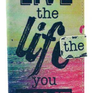 Deego Live the Life You Love Sparkle Pattern PU Leather Magnet Flip Wallet Cover with Stand for LG G3