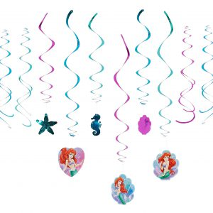 Disney Ariel Decorative Swirls Foil Hanging Birthday Party Decoration (12 Pack), Multi Color, .
