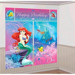 "Disney Ariel Little Mermaid Birthday Party Scene Setters Decoration (5 Pack), Multi Color, 59"" x 65""."