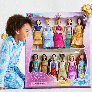 Disney Exclusive Princess Classic Doll Collection - 12- (11 Dolls:Snow White, Cinderella, Aurora, Ariel, Belle, Jasmine, Pocahontas, Mulan, Tiana, Rapunzel, and Merida)