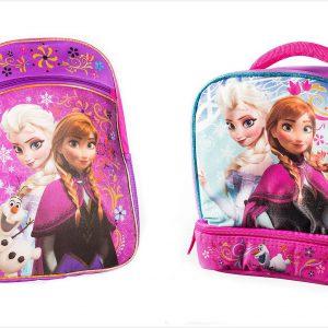 Disney Frozen Pink Backpack Princess Elsa & Anna 16'' with a Blue Lunch Bag 9.5'' Set by Disney