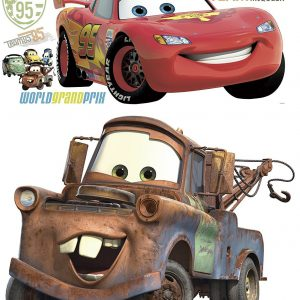 Disney Pixar Cars 2 Lightning McQueen & Mater Peel and Stick Giant Wall Decal Bundle