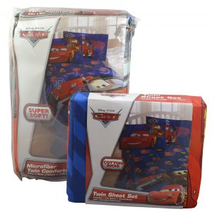 Disney Pixar Cars 4pc Set Twin Reversible Comforter & Sheet Set Bedding Collection
