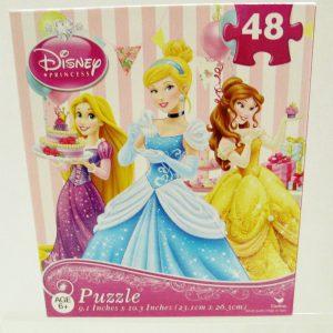 Disney Princess 48 Piece Puzzle Cinderella (Front Center) Belle & Rapunzel -  Party Scene #226534