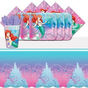 Disney Princess Ariel Little Mermaid Birthday Party Tableware Pack for 8 by Balloons and Party
