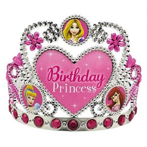 "Disney Princess Birthday Party Tiara Wearable Accessory Supply (1 Piece), Pink/Silver, 5"" x 5 1/2""."