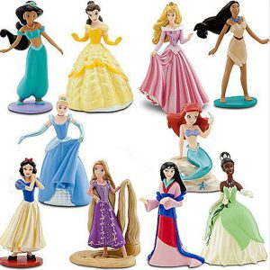 Disney Princess Exclusive 10 Piece Deluxe Figurine Set Aurora, Ariel, Jasmine, Snow White, Tiana, Cinderella, Mulan, Pocahontas, Belle Rapunzel