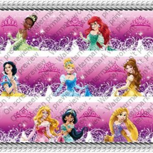Disney Princess Glamour Designer Prints ~ Edible Image Icing Cake Topper ~ New!!!