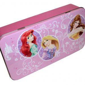 Disney Princess Hinged Storage Tin Box Pencil Case, Ariel, Rapunzel & Belle