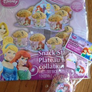 Disney Princess Party Supplies Set - Cupcake/Snack Stand + 18 Disney Princess Cupcake Liners W/Bonus Picks! Featuring Cinderella, Ariel & Rapunzel! by Peachtree
