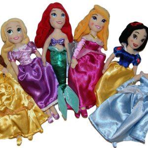 Disney Princess Plush Dolls Gift Set - Rapunzel, Aurora Sleeping Beauty, Cinderella, Snow White, Belle Beauty and the Beast, Ariel