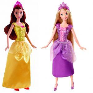 Disney Princess Sparkling Princess Rapunzel Doll and Princess Belle Doll - Holiday Gift Bundle of 2 Dolls