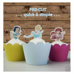 Disney Princess half body EDIBLE wafer Cupcake Toppers cake PRE-CUT birthday