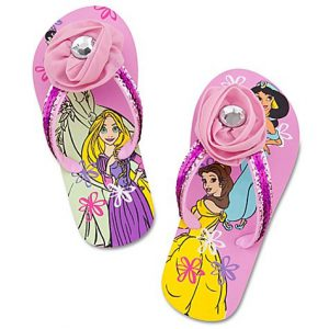 Disney Store Disney Princess Swimsuit/Swimwear Accessories: Pink Flip-Flop Sandals/Pool Shoes Featuring Rapunzel, Belle, Jasmine and Tiana Size 9/10