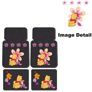Disney Winnie the Pooh Paradise Flowers Car Truck SUV Front & Rear Seat Rubber Floor Mats - 4PC