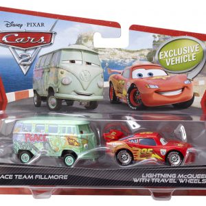 Disney/Pixar Cars 2 Die-Cast Race Team Fillmore and Lightning McQueen with Travel Wheels 2-Pack 1:55 Scale