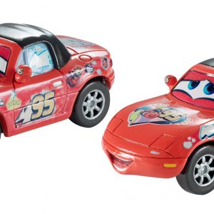 """Disney/Pixar Cars, 2015 Race Fans Die-Cast Vehicles, """"Superfan"""" Mia and """"Superfan"""" Tia #7/9 and 8/9, 1:55 Scale"""