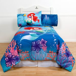 Disney's The Little Mermaid Full Comforter & Sheet Set (5 Piece Girls Bedding) K + BONUS HOMEMADE WAX MELT!