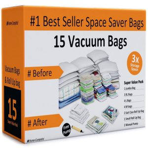 Home-Complete Vacuum Storage Bags- 15 Multi Size Space Saving Air Tight Compression Organizers for Closet Clutter, Clothes, Linens- Pump Included