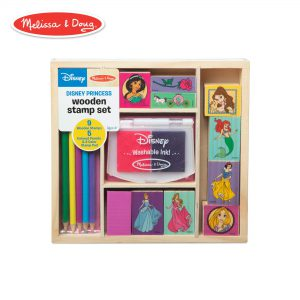 "Melissa & Doug Wooden Stamp Set Disney Princesses (Arts & Crafts, Sturdy Wooden Storage Box, Washable Ink, 17 Pieces, 8.75"" H x 8"" W x 1.5"" L)"