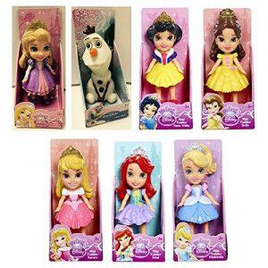 My First Disney Princess - Mini Toddler Dolls - SET OF 7 (OLAF - CINDERELLA - SNOW WHITE - RAPUNZEL - BELLE - AURORA - ARIEL)