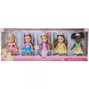 My First Disney Princess, Petite Princess Party Gift Set (Aurora, Ariel, Rapunzel, Belle, and Tiana), 5-pack,