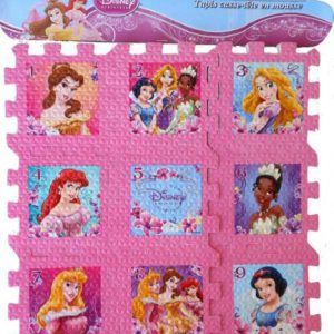 Pink Disney Princess Floor Foam Puzzle 9x9 - Featuring Rapunzel, Ariel, Belle, Snow White, Tiana & Sleeping Beauty! Highlights Number Recognition 1- 9!