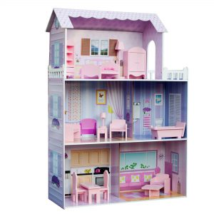 """Teamson Kids - Fancy Mansion Wooden Doll House with 13 pcs Furniture for 12"""" Dolls"""