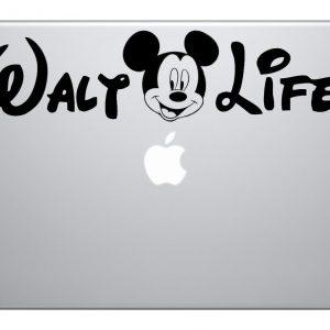 "Walt Life 9"" Black Vinyl Macbook Mac Air Laptop Car Truck Decal Sticker Disney Kids Fun Adorable Love Cute Awesome Disney World Disney Land"